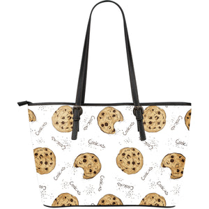 Sketch Style Cookie Pattern Large Leather Tote Bag