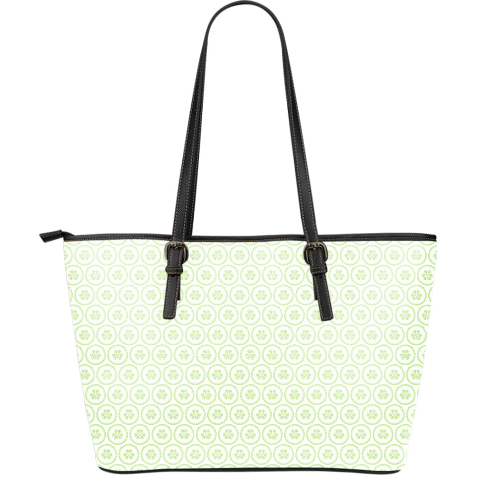 Cucumber Pattern Background Large Leather Tote Bag