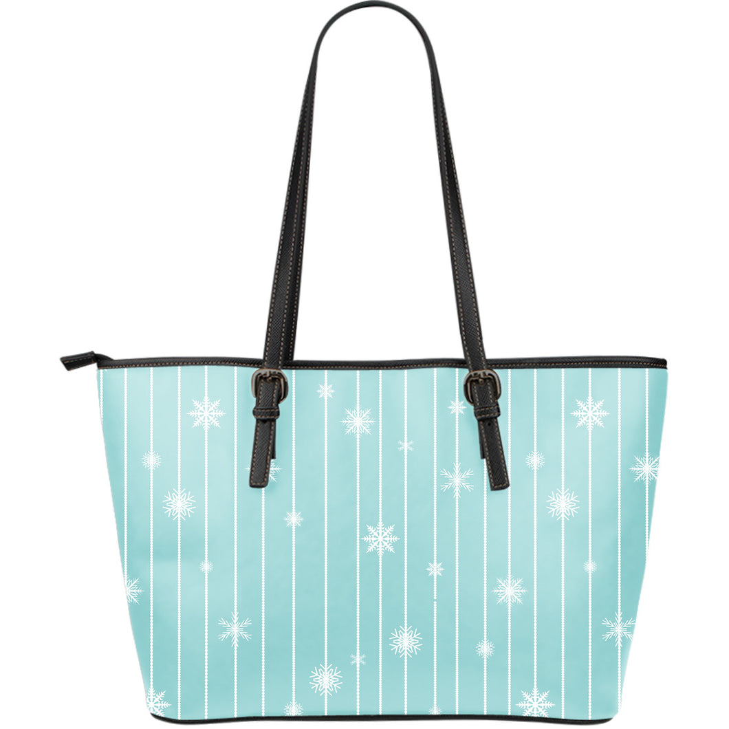 Snowflake Pattern Blue Stripe Background Large Leather Tote Bag