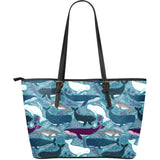 Whale design pattern Large Leather Tote Bag