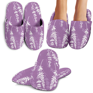 Lavender Flowers Purple Pattern Slippers