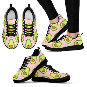 Avocado Heart Pink Background Women'S Sneaker Shoes
