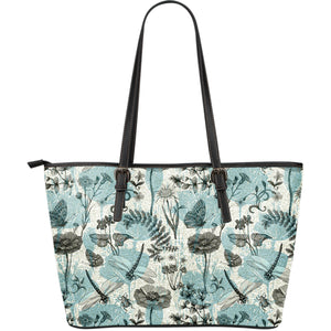Dragonfly Butterfly Plants insect flower vintage style pattern Large Leather Tote Bag
