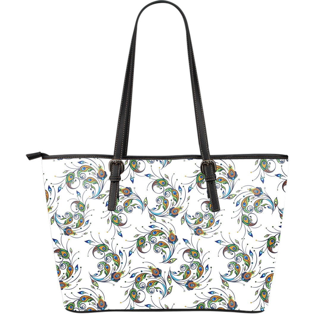 Peacock feather pattern Large Leather Tote Bag