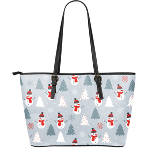 Snowman Christmas  Tree Snow Gray Background Large Leather Tote Bag