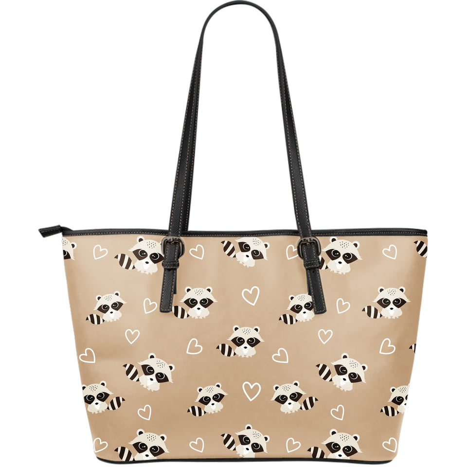 Cute raccoon heart pattern Large Leather Tote Bag