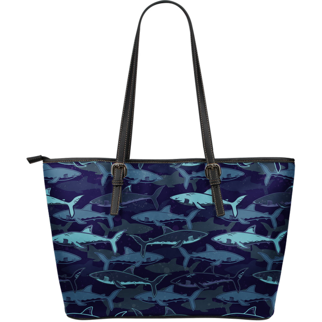 Shark pattern Large Leather Tote Bag