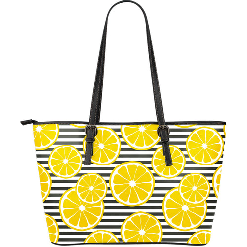 slice of lemon design pattern Large Leather Tote Bag