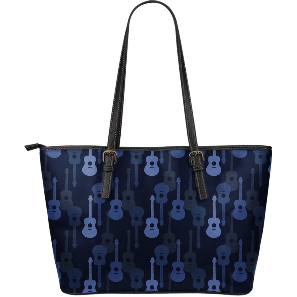 Blue Theme guitar pattern Large Leather Tote Bag