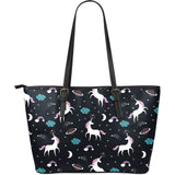 unicorn rainbows moon clound star pattern Large Leather Tote Bag