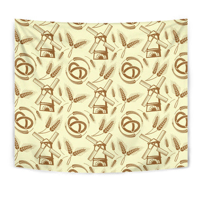Windmill Wheat Pattern Wall Tapestry