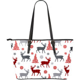 Deer Tree Snowflakes Chrismas Pattern Large Leather Tote Bag