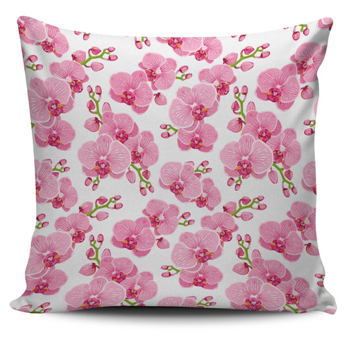 pink purple orchid pattern background Pillow Cover