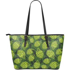 Hop Pattern Hop Cone Background Large Leather Tote Bag