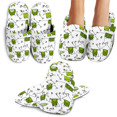 Sketch Funny Frog Pattern Slippers