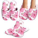 Pink Purple Orchid Pattern Background Slippers
