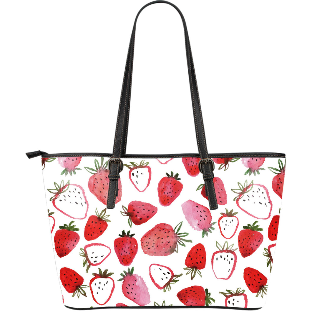 watercolor hand drawn beautiful strawberry pattern Large Leather Tote Bag