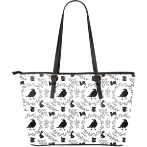 Crows Floral Wreath Rabbit Pattern Large Leather Tote Bag