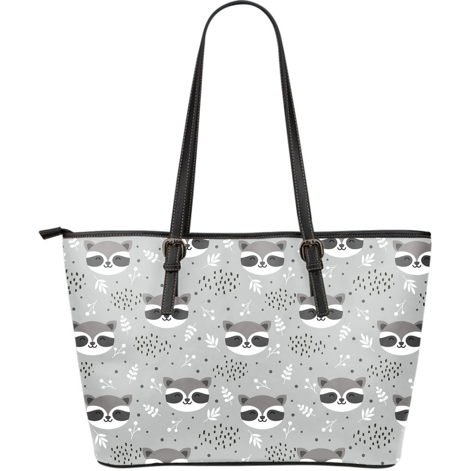 Cute raccoons leaves dot Large Leather Tote Bag