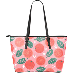Grapefruit Leaves Flower Pink Background Large Leather Tote Bag