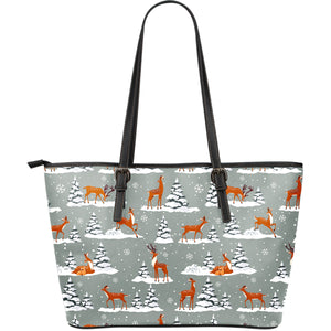 Beautiful deers Winter Christmas Large Leather Tote Bag
