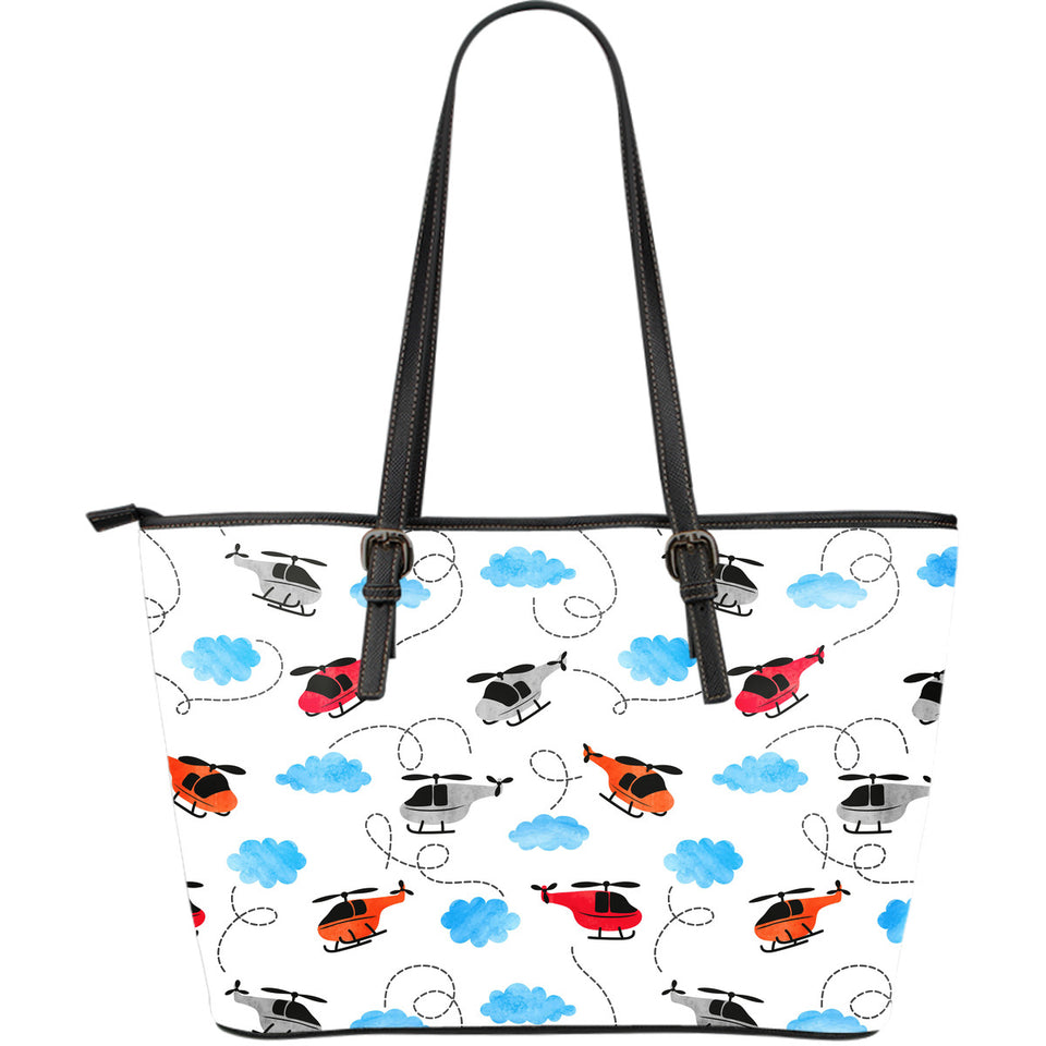 Watercolor Helicopter Cloud Pattern Large Leather Tote Bag