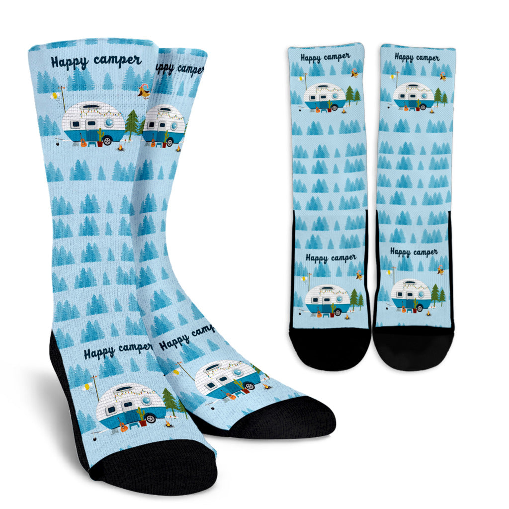 Crew Socks - White - Happy Camper Socks