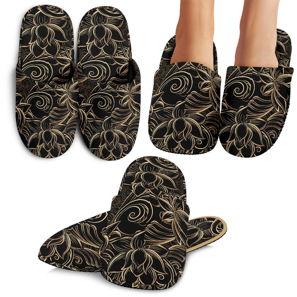 Luxurious Gold Lotus Waterlily Black Background Slippers