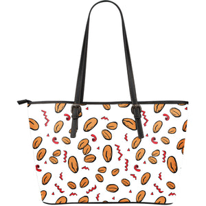 peanuts pattern background Large Leather Tote Bag