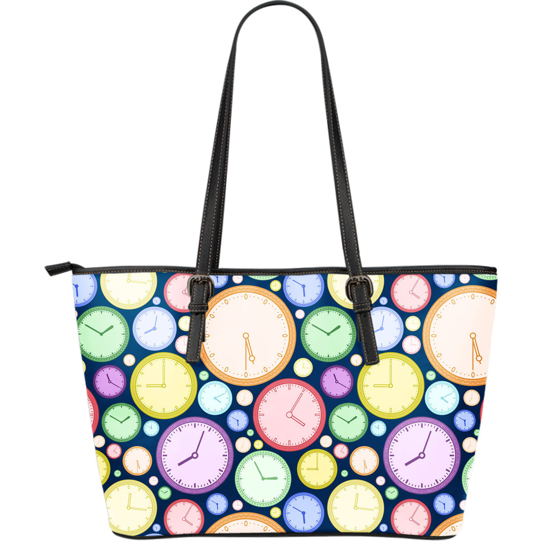 Colorful clock background Large Leather Tote Bag