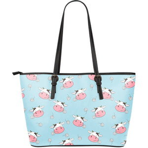 Cute Cow Flower Pattern Large Leather Tote Bag