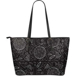 Pizza Pattern  Large Leather Tote Bag