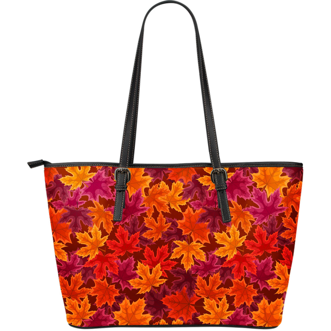 Autumn Maple Leaf Pattern Large Leather Tote Bag