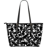 Crow illustration pattern Large Leather Tote Bag