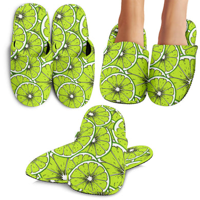 Slices Of Lime Design Pattern Slippers