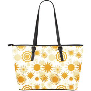 Sun design pattern Large Leather Tote Bag