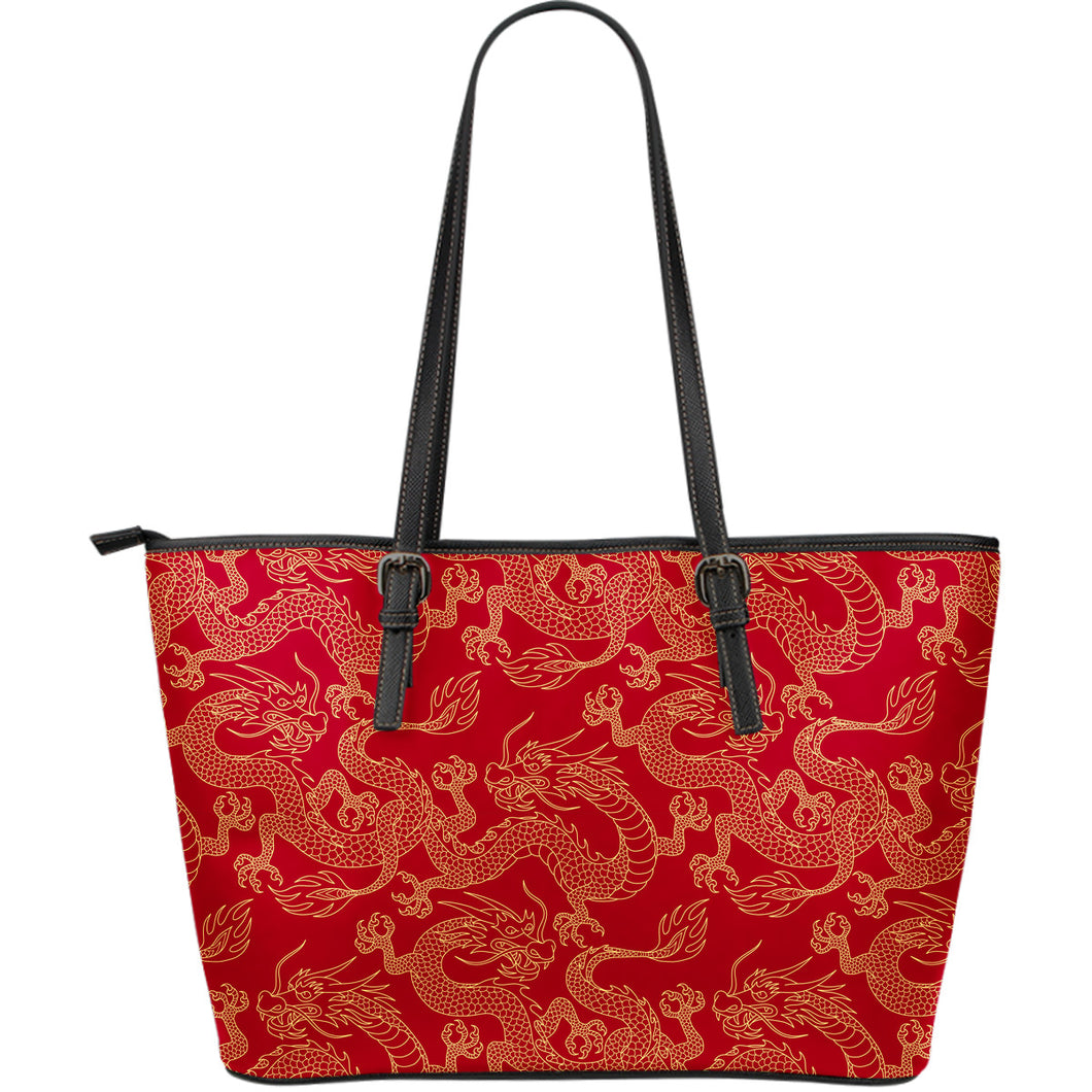 Gold Dragons Red Background Large Leather Tote Bag