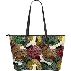 Japanese cranes flying forest dot pattern Large Leather Tote Bag