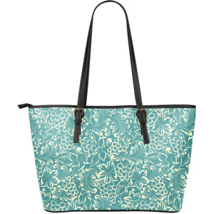 Classic Hand drawn Grape pattern Large Leather Tote Bag