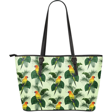 Beautiful Parrot Palm Leaves Pattern Large Leather Tote Bag