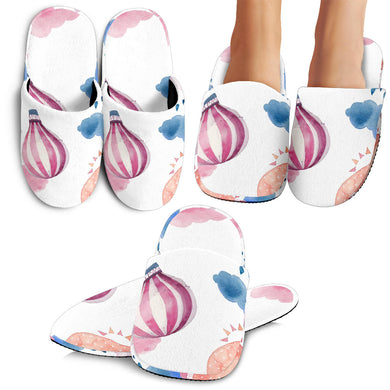 Watercolor Air Balloon Cloud Pattern Slippers