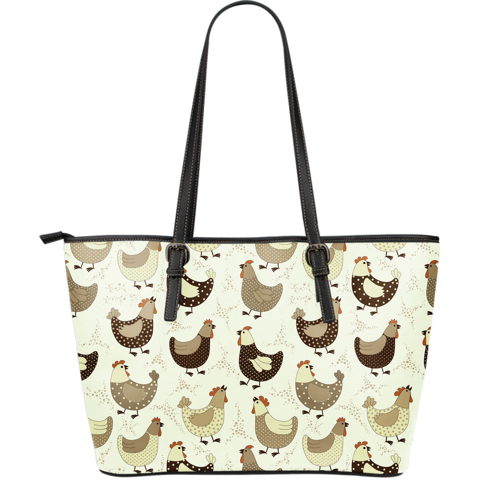 Cute rooster chicken cock Large Leather Tote Bag