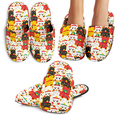 Colorful Maneki Neko Lucky Cat Pattern Slippers