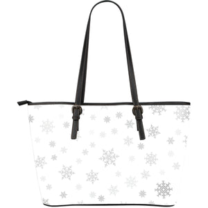 Snowflake Pattern White Background Large Leather Tote Bag