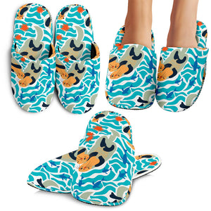 Cute Sea Otters Fishe Sea Urchin Pattern Slippers