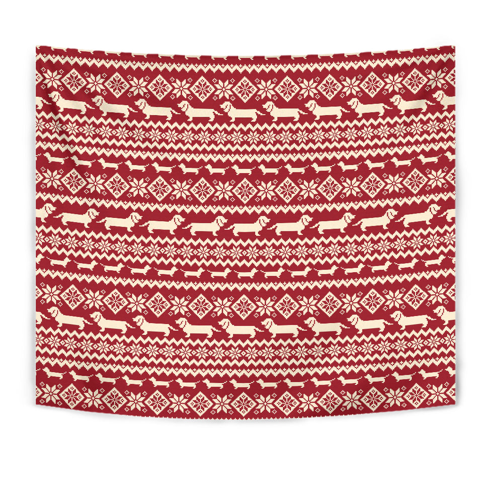 Dachshund Nordic Pattern Wall Tapestry