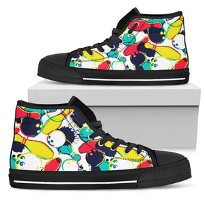 watercolor bowling ball pins Men's High Top Canvas Shoes Black Pillow