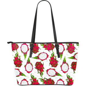 Dragon Fruits White Background Large Leather Tote Bag