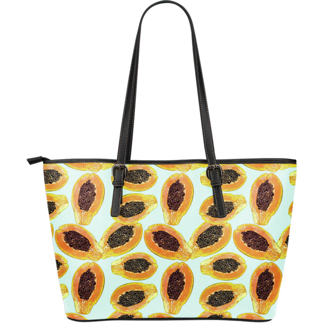 Watercolor papaya pattern Large Leather Tote Bag