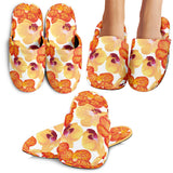 Orange Yellow Orchid Flower Pattern Background Slippers